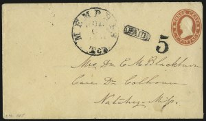Sale Number 940, Lot Number 276, Handstamped Paid and Due MarkingsMemphis Ten. Jul. 6, 1861, Memphis Ten. Jul. 6, 1861