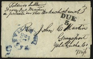 Sale Number 940, Lot Number 281, Handstamped Paid and Due MarkingsNashville Ten. Dec. 16, 1861, Nashville Ten. Dec. 16, 1861