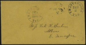 Sale Number 940, Lot Number 294, PostmasterChattanooga Tenn., 5c on 2c Black entire (17XU3), Chattanooga Tenn., 5c on 2c Black entire (17XU3)