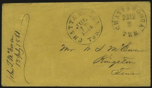 Sale Number 940, Lot Number 295, PostmasterChattanooga Tenn., 5c Black entire (17XU2), Chattanooga Tenn., 5c Black entire (17XU2)