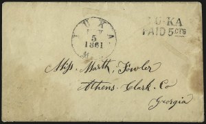 Sale Number 940, Lot Number 297, PostmasterIuka Miss., 5c Black entire (42XU1), Iuka Miss., 5c Black entire (42XU1)