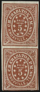 Sale Number 940, Lot Number 301, PostmasterKnoxville Tenn., 5c Brick Red on Grayish Laid (47X1), Knoxville Tenn., 5c Brick Red on Grayish Laid (47X1)