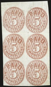 Sale Number 940, Lot Number 317, PostmasterMemphis Tenn., 5c Red (56X2), Memphis Tenn., 5c Red (56X2)