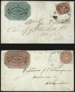 Sale Number 940, Lot Number 323, PostmasterMemphis Tenn., 5c Red (56X2), Memphis Tenn., 5c Red (56X2)