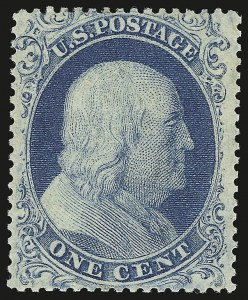 Sale Number 941, Lot Number 1013, 1857-60 Issue1c Blue, Ty. I (18). Mint N.H, 1c Blue, Ty. I (18). Mint N.H