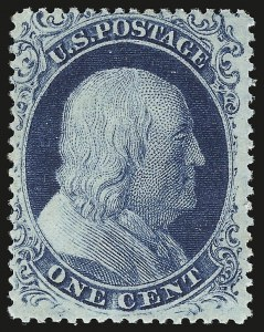 Sale Number 941, Lot Number 1014, 1857-60 Issue1c Blue, Ty. II (20). Mint N.H, 1c Blue, Ty. II (20). Mint N.H