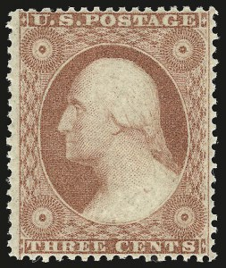 Sale Number 941, Lot Number 1018, 1857-60 Issue3c Dull Red, Ty. II (26). Mint N.H, 3c Dull Red, Ty. II (26). Mint N.H