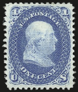 Sale Number 941, Lot Number 1043, 1868 Grilled Issue1c Blue, E. Grill (86), 1c Blue, E. Grill (86)