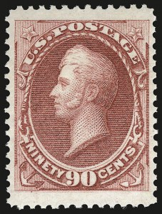 Sale Number 941, Lot Number 1107, 1873 Continental Bank Note Co. Issue90c Rose Carmine (166). Mint N.H, 90c Rose Carmine (166). Mint N.H