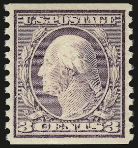 Sale Number 941, Lot Number 1327, 1912-23 Issues (Scott 485 to 519)3c Violet, Ty. I, Coil (493), 3c Violet, Ty. I, Coil (493)