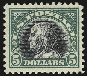 Sale Number 941, Lot Number 1338, 1912-23 Issues (Scott 523 to 662)$5.00 Deep Green & Black (524), $5.00 Deep Green & Black (524)