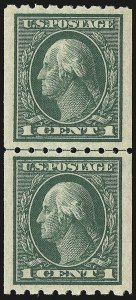 Sale Number 946, Lot Number 1019, 1912-14 Washington-Franklin Issue (Scott 405-423)1c Green, Coil (410), 1c Green, Coil (410)