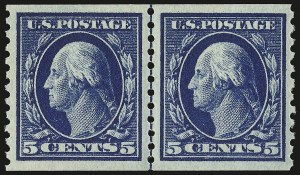 Sale Number 946, Lot Number 1058, 1913-15 Washington-Franklin Issues (Scott 424-461)5c Blue, Coil (447), 5c Blue, Coil (447)