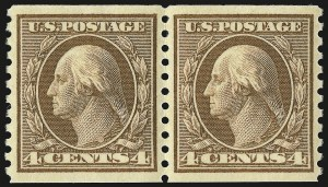 Sale Number 946, Lot Number 1074, 1913-15 Washington-Franklin Issues (Scott 424-461)4c Brown, Coil (457), 4c Brown, Coil (457)