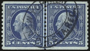 Sale Number 946, Lot Number 1077, 1913-15 Washington-Franklin Issues (Scott 424-461)5c Blue, Coil (458), 5c Blue, Coil (458)