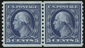 Sale Number 946, Lot Number 1078, 1913-15 Washington-Franklin Issues (Scott 424-461)5c Blue, Coil (458), 5c Blue, Coil (458)