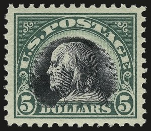 Sale Number 946, Lot Number 1158, 1917-19 Issues (Scott 481-524)$5.00 Deep Green & Black (524), $5.00 Deep Green & Black (524)