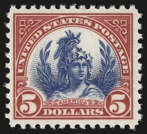 Sale Number 946, Lot Number 1201, 1922-29 Issues (Scott 551-621)$5.00 Carmine & Blue (573), $5.00 Carmine & Blue (573)