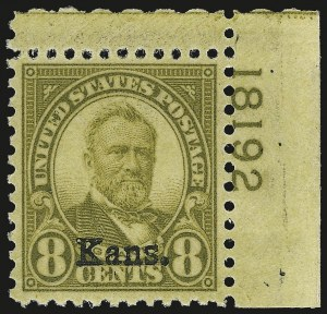 Sale Number 946, Lot Number 1272, 1925 and Later Issues (Scott 622-later)8c Kans. Ovpt. (666), 8c Kans. Ovpt. (666)