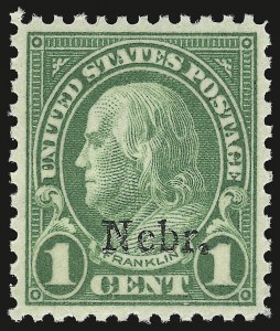 Sale Number 946, Lot Number 1278, 1925 and Later Issues (Scott 622-later)1c Nebr. Ovpt. (669), 1c Nebr. Ovpt. (669)