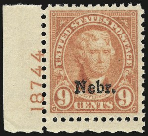 Sale Number 946, Lot Number 1283, 1925 and Later Issues (Scott 622-later)9c Nebr. Ovpt. (678), 9c Nebr. Ovpt. (678)