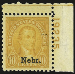 Sale Number 946, Lot Number 1285, 1925 and Later Issues (Scott 622-later)10c Nebr. Ovpt. (679), 10c Nebr. Ovpt. (679)