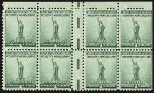 Sale Number 946, Lot Number 1302, 1925 and Later Issues (Scott 622-later)1c Defense, Horizontal Pair With Vertical Gutter Between (899 var), 1c Defense, Horizontal Pair With Vertical Gutter Between (899 var)
