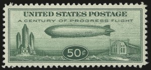 Sale Number 946, Lot Number 1355, Air Post50c Chicago Zeppelin (C18), 50c Chicago Zeppelin (C18)