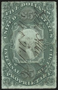 Sale Number 946, Lot Number 1562, Revenues$5.00 Green & Black on Violet Paper, Proprietary (RB10a), $5.00 Green & Black on Violet Paper, Proprietary (RB10a)