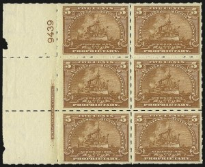 "Sale Number 946, Lot Number 1566, Revenues5c Brown Orange, ""Battleship"" Proprietary, Hyphen Hole Perf 7 (RB31p), 5c Brown Orange, ""Battleship"" Proprietary, Hyphen Hole Perf 7 (RB31p)"