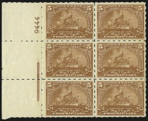 "Sale Number 946, Lot Number 1568, Revenues5c Brown Orange, ""Battleship"" Proprietary, Hyphen Hole Perf 7 (RB31p), 5c Brown Orange, ""Battleship"" Proprietary, Hyphen Hole Perf 7 (RB31p)"
