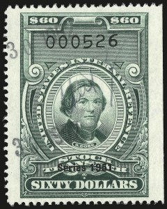 Sale Number 946, Lot Number 1576, Revenues$60.00 Green, Series of 1951 (RD358), $60.00 Green, Series of 1951 (RD358)