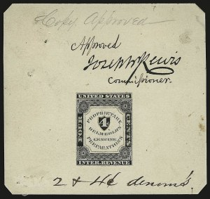 Sale Number 946, Lot Number 1590, RevenuesA. L. Helmbold's, 4c Black, Large Die Proof on India (RS111P1), A. L. Helmbold's, 4c Black, Large Die Proof on India (RS111P1)