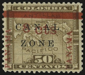 Sale Number 946, Lot Number 1673, Canal Zone1904, 8c on 50c Bister Brown (15), 1904, 8c on 50c Bister Brown (15)