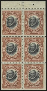 Sale Number 946, Lot Number 1674, Canal Zone1912, 2c Vermilion & Black, Booklet Pane of Six, Imperforate Margins (39c), 1912, 2c Vermilion & Black, Booklet Pane of Six, Imperforate Margins (39c)