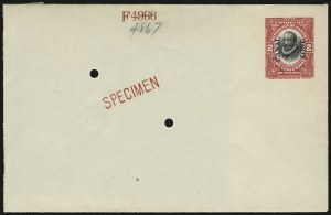 "Sale Number 946, Lot Number 1678, Canal Zone1916, 2c Red & Black entire, ""Specimen"" (U2Sa; UPSS 2), 1916, 2c Red & Black entire, ""Specimen"" (U2Sa; UPSS 2)"