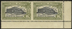 Sale Number 946, Lot Number 1747, Philippines, Other Possessions1926, 2c and 16c Legislative Palace, Horizontal Pairs Imperforate Between (319a, 321a), 1926, 2c and 16c Legislative Palace, Horizontal Pairs Imperforate Between (319a, 321a)