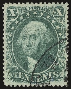 Sale Number 946, Lot Number 283, 1857-60 Issue (Scott 18-39)10c Green, Ty. III (33), 10c Green, Ty. III (33)