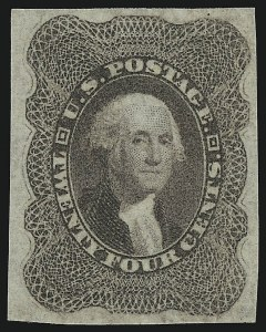 Sale Number 946, Lot Number 298, 1857-60 Issue (Scott 18-39)24c Lilac, Imperforate (37c), 24c Lilac, Imperforate (37c)