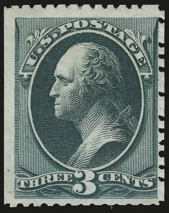 Sale Number 946, Lot Number 576, 1875 Continental Bank Note Co. Hard Paper Special Printing (Scott 167-175)3c Blue Green, Special Printing (169), 3c Blue Green, Special Printing (169)