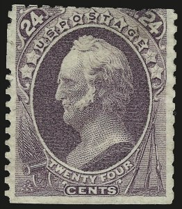 Sale Number 946, Lot Number 577, 1875 Continental Bank Note Co. Hard Paper Special Printing (Scott 167-175)24c Dull Purple, Special Printing (175), 24c Dull Purple, Special Printing (175)