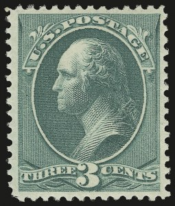 Sale Number 946, Lot Number 601, 1881-83 American Bank Note Co. Issues (Scott 205-211B)3c Blue Green (207), 3c Blue Green (207)