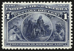 Sale Number 946, Lot Number 636, 1893 Columbian Issue (Scott 230-245)1c Columbian (230), 1c Columbian (230)