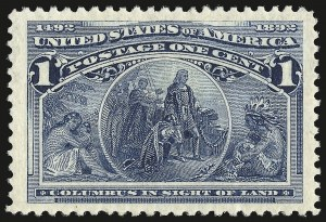 Sale Number 946, Lot Number 637, 1893 Columbian Issue (Scott 230-245)1c Columbian (230), 1c Columbian (230)