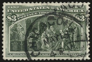 Sale Number 946, Lot Number 709, 1893 Columbian Issue (Scott 230-245)$3.00 Columbian (243), $3.00 Columbian (243)