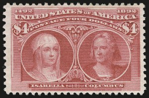 Sale Number 946, Lot Number 710, 1893 Columbian Issue (Scott 230-245)$4.00 Rose Carmine, Columbian (244a), $4.00 Rose Carmine, Columbian (244a)