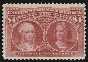 Sale Number 946, Lot Number 711, 1893 Columbian Issue (Scott 230-245)$4.00 Columbian (244), $4.00 Columbian (244)