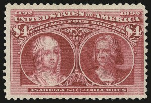 Sale Number 946, Lot Number 712, 1893 Columbian Issue (Scott 230-245)$4.00 Columbian (244), $4.00 Columbian (244)
