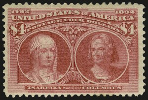 Sale Number 946, Lot Number 713, 1893 Columbian Issue (Scott 230-245)$4.00 Columbian (244), $4.00 Columbian (244)