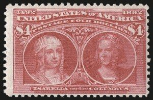 Sale Number 946, Lot Number 714, 1893 Columbian Issue (Scott 230-245)$4.00 Columbian (244), $4.00 Columbian (244)